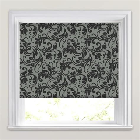 black patterned blinds light grey black traditional swirling floral patterned
