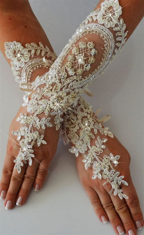 Lace Wedding Gloves wedding glove ivory lace gloves fingerless glove by