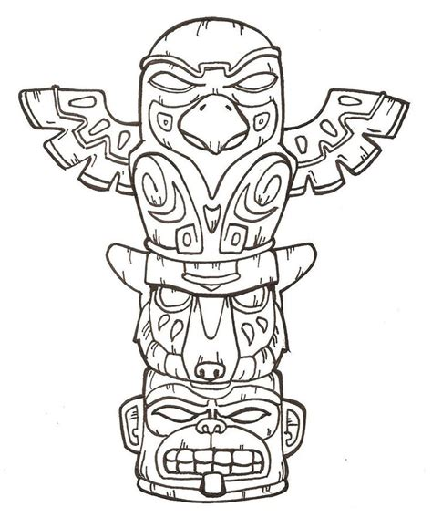 Totem Pole Template by Totem Pole Coloring Page Coloring Home
