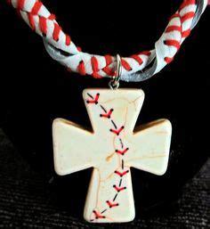stitches on a baseball on a rosary baseball jewelry on baseball necklace
