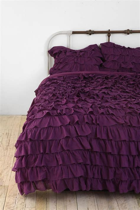 purple ruffle bedding plum bow waterfall ruffle sham set of 2