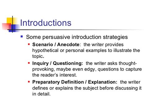 Research Strategies For Writing A Persuasive Essay by Persuasive Essay Introductions Ospi