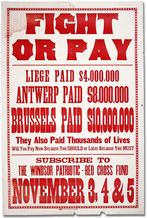 Or Poster War Posters Patriotic Fund Fight Or Pay Canada