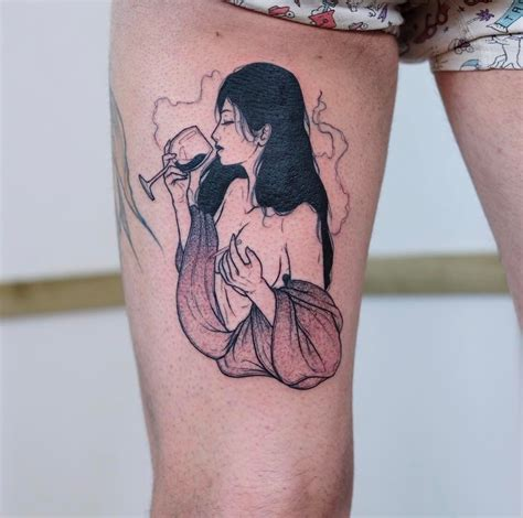 people tattoo with and wine