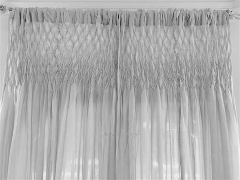 smocked sheer curtains 2 shabby french provincial curtains drapes grey vintage