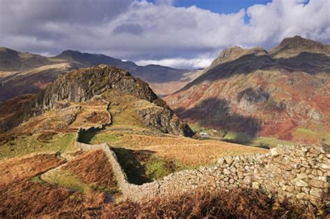 Autumn Wall Murals drystone wall on lingmoor fell looks towards side pike and