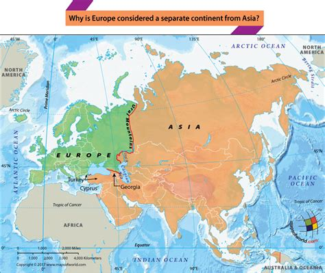 map of asia continent europe and asia are separate continents answers