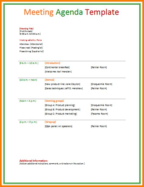 meeting agenda template doc business meeting invitation sle email futureclim info