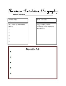 organizer for america american revolution biography graphic organizer by rush s