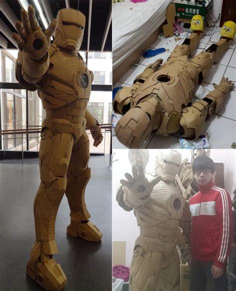 guy builds full set iron man armor cardboard