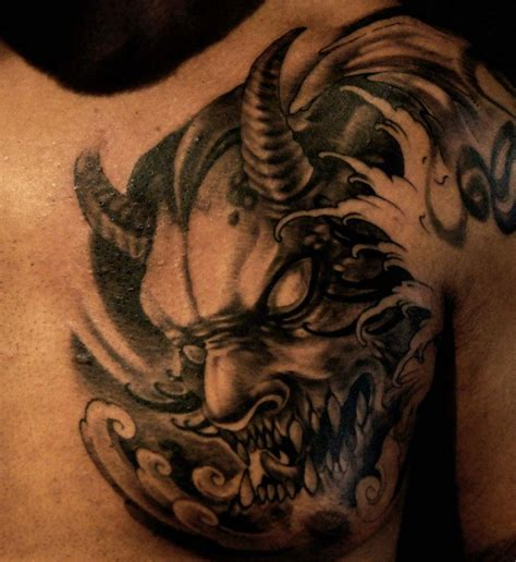 tattoo black and grey oriental chronic ink tattoos toronto tattoo chest piece by