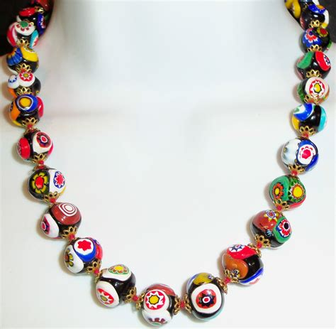 Vintage Millefiori Venetian Murano Glass Bead Necklace