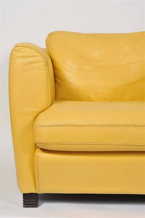 Yellow Leather Recliner Pair Of 1960s Yellow Leather Club Chairs For Sale At 1stdibs