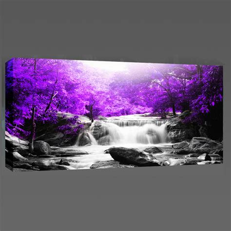 landscape canvas prints beautiful purple trees waterfall landscape canvas wall