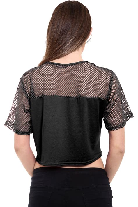 See Through Mesh Sleeve Top new womens net sleeve mesh insert see through