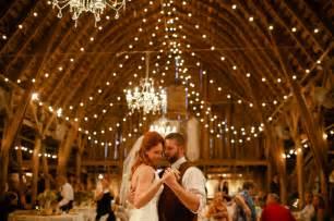 barn wedding with lights