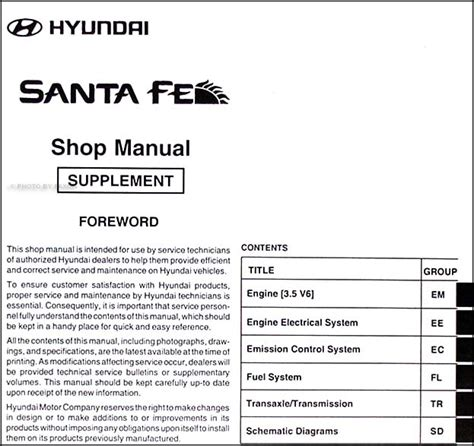 small engine service manuals 2006 hyundai santa fe parking system mid 2003 v6 2004 hyundai santa fe repair shop manual original supplement