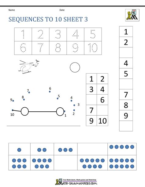 To Worksheets by Preschool Number Worksheets Sequencing To 10