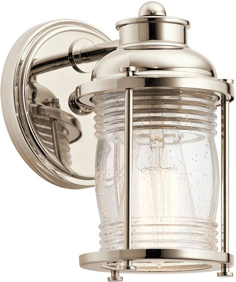 nautical bathroom light fixtures kichler 45770pn ashland bay polished nickel wall sconce