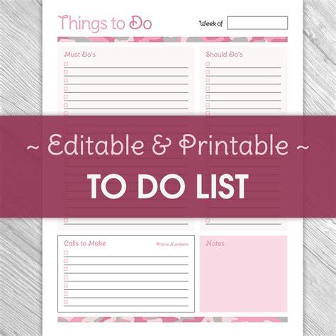 printable and editable to do list printable editable to do list pink camouflage printable