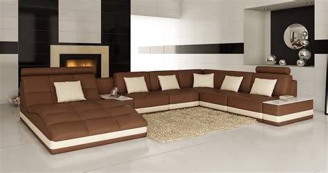 brown sofa white furniture divani casa 6143 modern brown and white leather sectional sofa