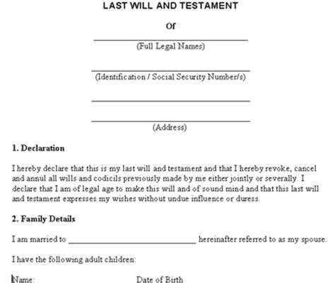 free simple will template last will and testament images frompo