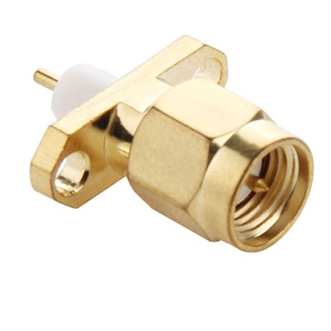 Konektor Connector Panel Sma F 2 Lubanghole Solder gold plated sma 2 holes panel mount dielectric solder connector adapter pack of 10