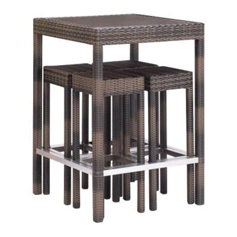zuo cinto brown 5 patio bar set 701270 the home depot