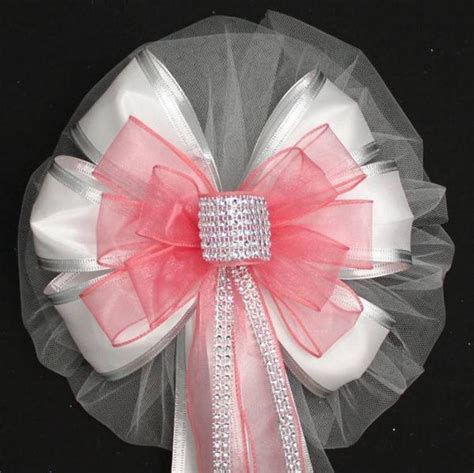 Coral Bling and White Sparkle Wedding Pew Bows   Package