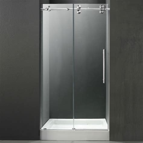 48 Inch Shower Door Vigo 48 Inch Frameless Shower Door 3 8 Quot Clear Chrome Hardware With White Base Center Drain