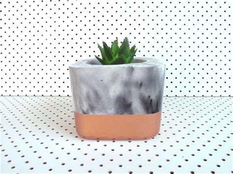 mixed metallic accents in copper silver more concrete marble mix metallic copper succulent planter