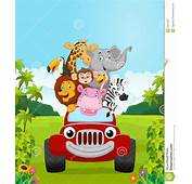 Cartoon Collection Animal Vacation With Red Car Stock
