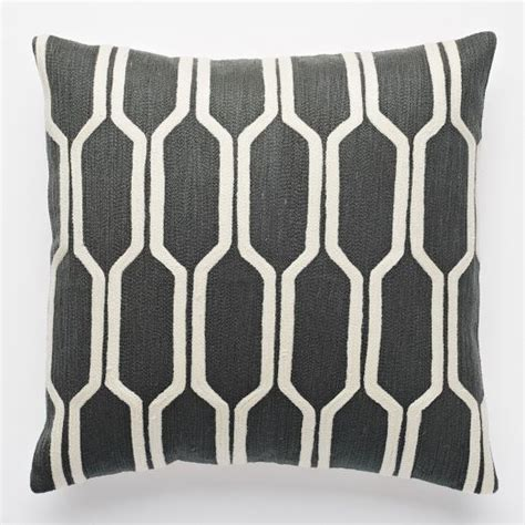 pattern matching elm honeycomb crewel pillow cover slate 44 at west elm