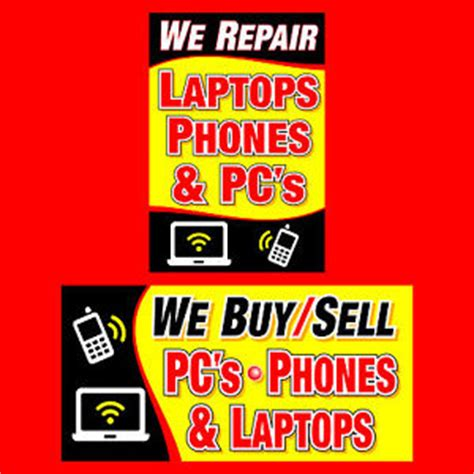 buy fix and sell houses we buy sell repair pcs laptops cell phone banner sign computer neon alt 4s 5