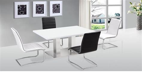 White High Gloss Dining Table And 4 Chairs Ultra Modern White High Gloss Dining Table 4 Chairs Homegenies