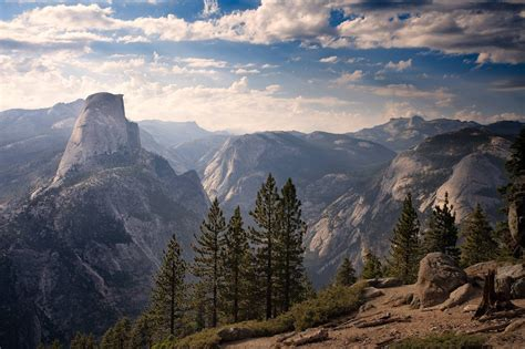 nature landscape trees pine trees rocks mountains