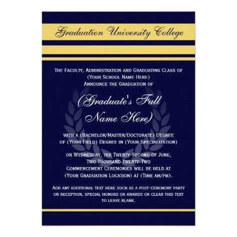 graduation invitations and announcements from formal college graduation announcements blue 5 quot x 7