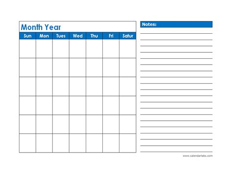 calendar with notes template monthly blank calendar in blue shade free printable