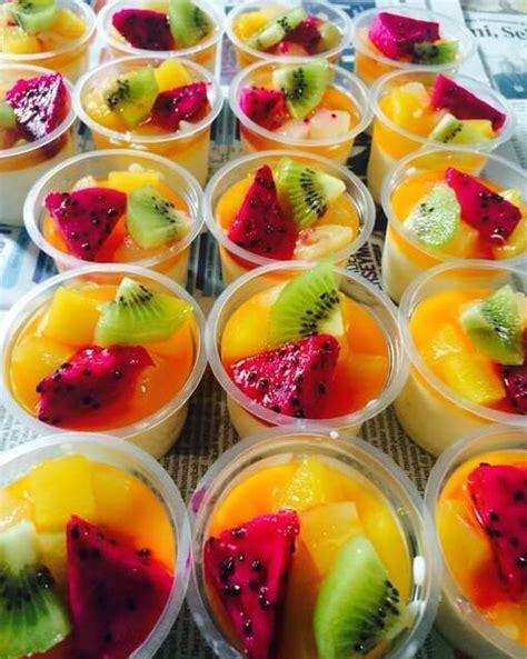 membuat puding puyo resep puding sutra buah sirup jeruk lembut lumer di mulut