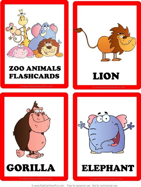 printable zoo animal cards 31 best images about flashcards on pinterest