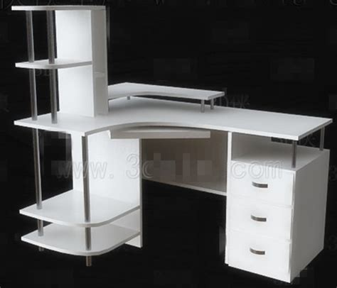 bureau simple blanc simple bureau d ordinateur blanc 3d model free 3d