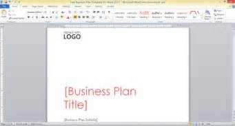 Word Document Business Plan Template Free Business Plan Template For Word 2013