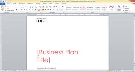 Free Business Plan Template For Word 2013 Business Plan Cover Page Template Word