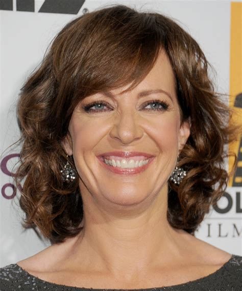 mid long hairstyles for forties brown women allison janney medium wavy formal hairstyle with side