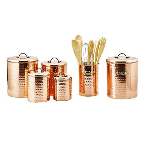copper canister set kitchen ware hammered cookware food old dutch international copper clad stainless steel