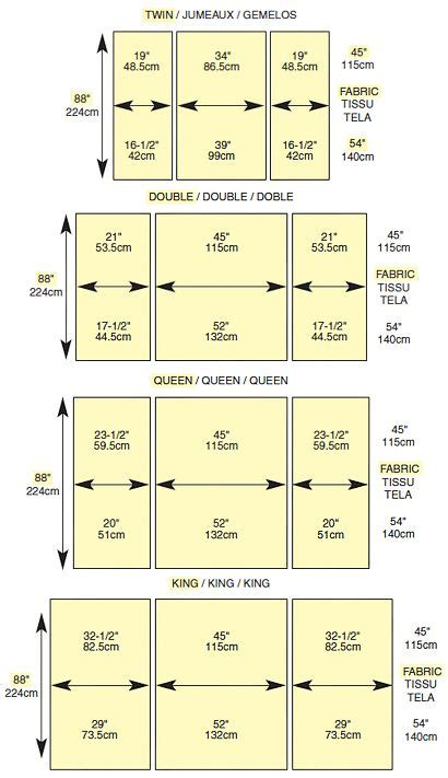 quilt sizes for beds standard bedding measurements sewing stuff pinterest