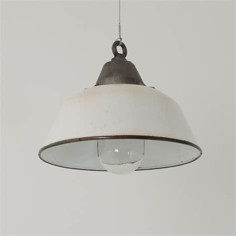 White Industrial Pendant Light White Pendants With Glass Domes Med Trainspotters Vintage Industrial Lighting