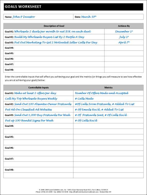 Goals Worksheet James Orr Real Estate Services Real Estate Goal Setting Template