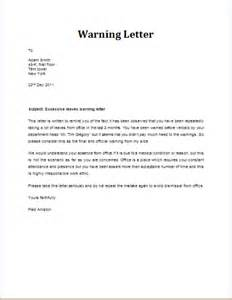 Sle Letter Informing Absence Warning Letter For Excessive Leaves Template Word Excel Templates