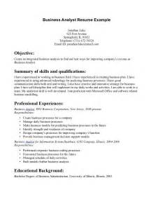 business manager sle resume business analyst resume exles template 17 images